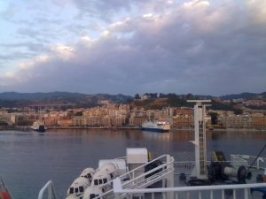 Early morning ferry ride to Sicily, Italy