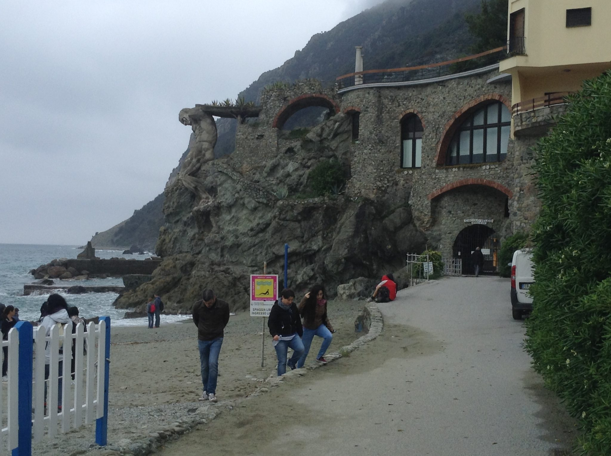 Giant statue of Neptune at Monterosso, Cinque Terre